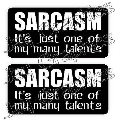 SARCASM - One of My Many Talents Hard Hat Stickers / Funny Construction Quotes