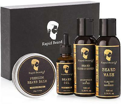 Beard Grooming kit for Men Care - Unscented Beard Oil Shampoo Conditioner Wax
