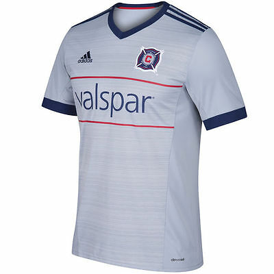 reputable site bb244 97def adidas Chicago Fire MLS 2017 Soccer Away Jersey New Gray   Red   Navy