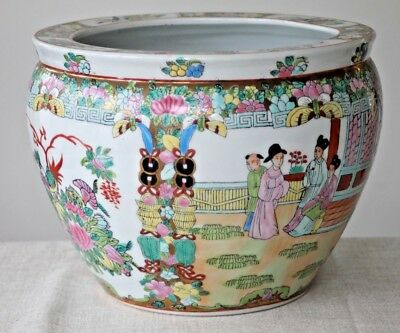 Vintage chinese famille rose very large jardiniere planter pot