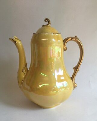 Yellow Coffee Pot Sarreguemines France Pearlised and Gold