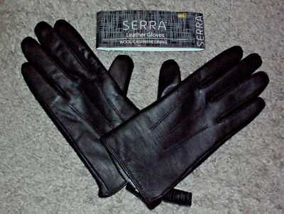 SERRA: Size: M/L. Genuine BLACK Leather Gloves with Beige Wool/Cashmere Lining