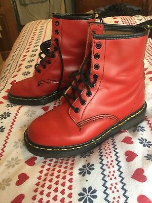 Red Vintage Doc Martens UK 4 1460 Dr Boots Made in England Used Ok Cond