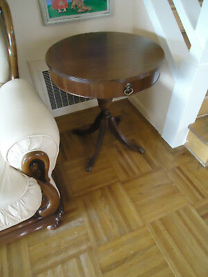 Antique Vintage Brandt Round  Wood Brass End Table Coffee table
