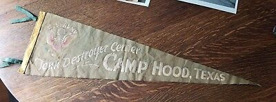 Vntg WWII WW2 US Army Tank Destroyer Center Camp Hood Texas Military Pennant