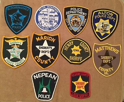 lot of 10 police sheriff patches new & used