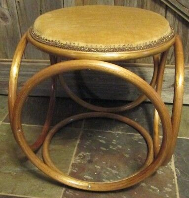 Bentwood Stool Wicker Ottoman Footrest Rattan Hassock Chair Wood Vintage
