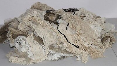 Large Antique Lot Of Assorted Lace & Crotchet Sleeves Trims