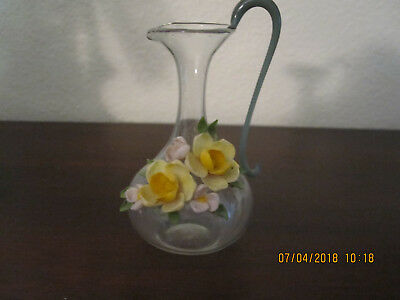 Antique tiny glass pitcher with shell flowers