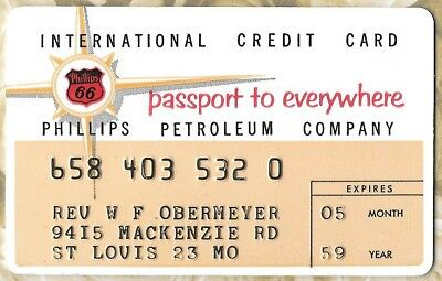 1959 Phillips 66 Charge Plate Credit Card Phillips Petroleum Company