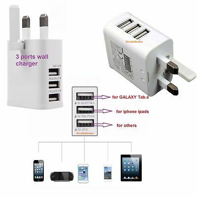 UK Mains Wall 3 Pin Plug Adaptor Charger with 3 USB Ports for Phones Tablets CE