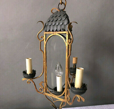 Hollywood Regency Palladio Italy Brass Gothic Wall Sconce Lantern Gilt 1950s