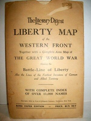 Antique 1918 Literary Digest  Liberty Map of The Western Front