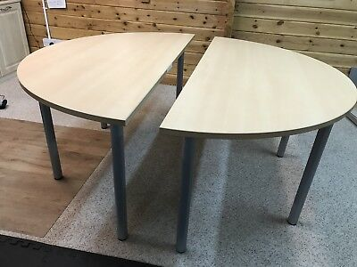 Circular / 2 X Half Moon Office Desks With 2 Office Chairs