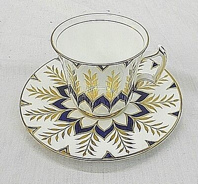 Royal Chelsea Bone China, Wedgwood Group, England, Cup & Saucer, Navy With Gold