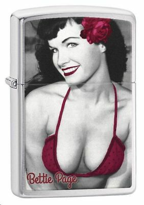 """Zippo Petrol Lighter """"Bettie Page"""" No 29439 - New on brushed chrome finish"""