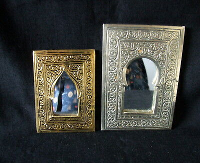 PAIR Of Lovely Moroccan Hand Crafted Engraved Small Silver & Brass Mirrors