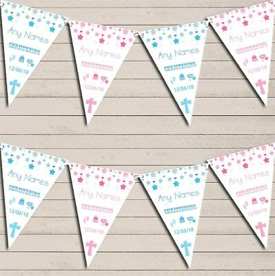 Christening Or Baptism Pink Blue Boy Girl Twins Personalised Christening Bunting