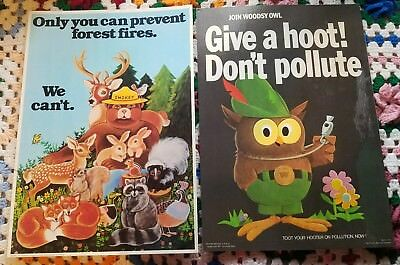 Vtg Smokey Bear Woodsy Owl Only You Can Prevent Fires Give a Hoot Poster