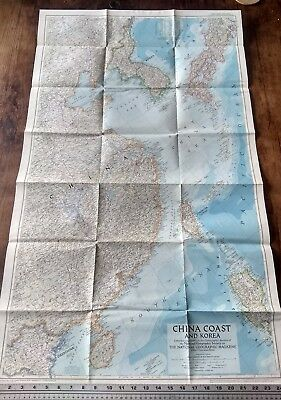 1953 National Geographic Vintage Wall Map Of China Coast And Korea