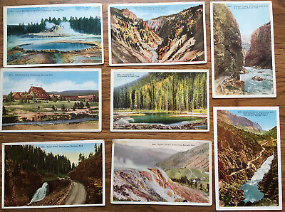 Lot of 8 Old Yellowstone National Park PCs, Old Faithful Inn, Falls, Shoshone