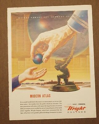 vtg 1943 WWII WRIGHT AIRCRAFT ENGINES Modern Atlas, magazine print full color ad