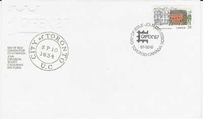 Canada Post OFDC 1987 CAPEX'87 34¢ Toronto's First Post Office FDC