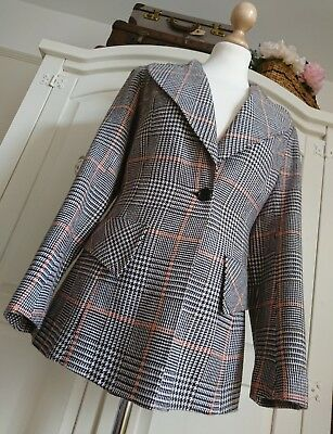 Vintage 1970's Ladies Retro Spinney Brown & Orange Checked Jacket UK size 8/10
