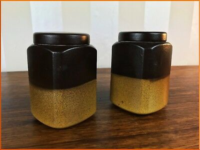 Vintage Pair Honiton Devon Pottery Ceramic Storage Jar Stoneware Pot Kitchenalia