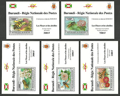 Burundi 2013 Insects Bees Wasps Flowers Set Of 5 Sheets Mnh