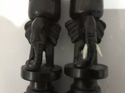 Pair Of Antique Ebony/wooden Candlesticks With Carved Elephants