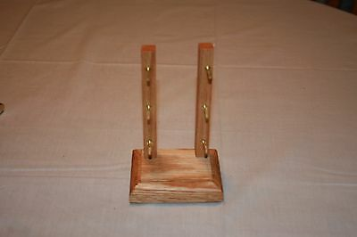 Solid Oak Folding/Pocket Triple Knife Display Stand