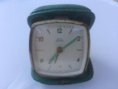 Smiths Empire Wind Up Travel Alarm Clock Vintage Green (Spares/Repairs)