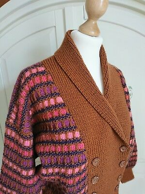 Vintage 1950's Hand Knitted Striped Wool Shawl Collar Double Breasted Cardigan L