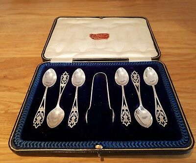 Boxed Solid Silver Coffee Spoons - set of six and sugar tongs 1908 Sheffield