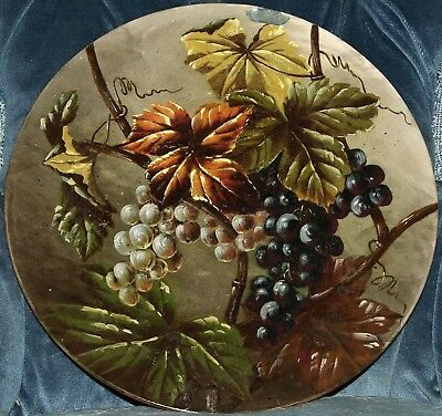 "12"" Torquay Pottery Charger Or Wall Plaque Painted With Fruiting Vines"