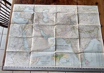 1952 National Geographic Vintage Wall Map Of Southwest Asia India Tibet