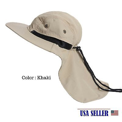Gardening Camping Hunting Boonie Snap Hat Brim Cap Ear Neck Cover Sun Flap KHAKI