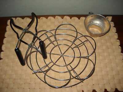 "Vintage Metal Canning, new 10"" pot rack hold 6 jars and new jar lifter"