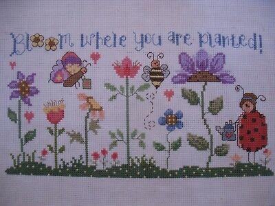 """Flower Cross stitch Completed Picture 'Bloom where you are planted' 10"""" x 5.25"""""""