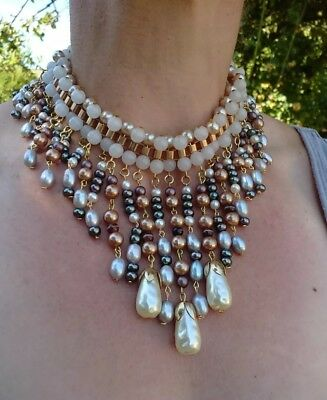 Statement 1940s Style Vintage Glass, Pearl Bib Collar Cleopatra Necklace
