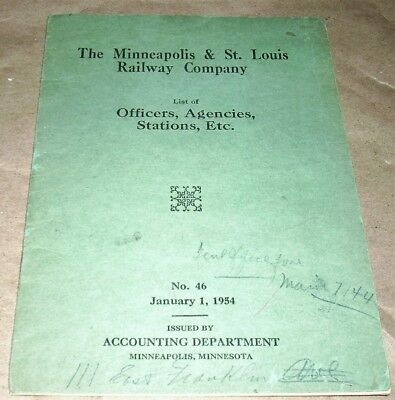 Minneapolis & St. Louis Railway Co.List of Officers Agencies Stations Etc. Book