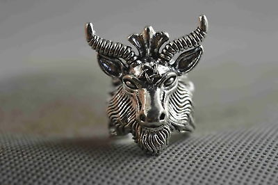 Collectable Handwork Decor Miao Silver Carve Vivid Sheep Moral Auspicious Ring