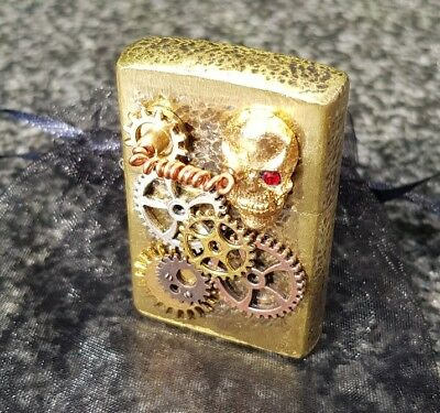 Zippo Double Sided 3D Steampunk 24Ct Gold Skull Lighter (One Of A Kind Custom)