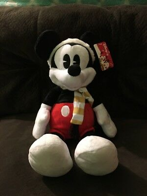 "NEW DISNEY MICKEY MOUSE CHRISTMAS HOLIDAY  PLUSH STUFFED  20""  Scarf Santa Hat"