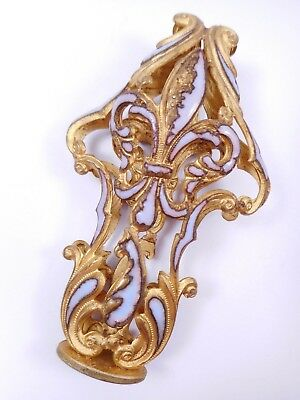 Unusual Antique Champleve Enamel Fleur De Lis Finial Large French?