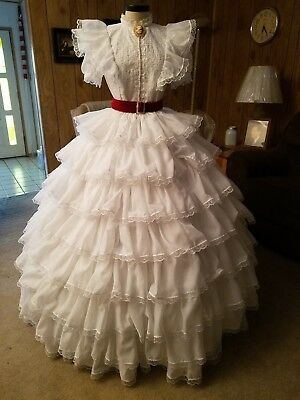 White Ruffled Dress,Gone with the Wind,Scarlett,Southern Belle,Cosplay,Gown,GWTW