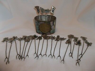 Vintage Set Of 24 Alpaca Mexico Hors D'oeuvre Forks And Container Abalone Inlay