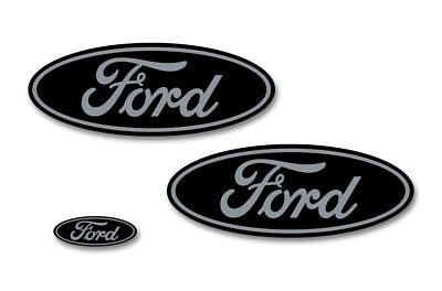 Ford Oval Badge Emblem Logo Overlay Sticker Decal Set For Ford F150 15-18 GRY BK