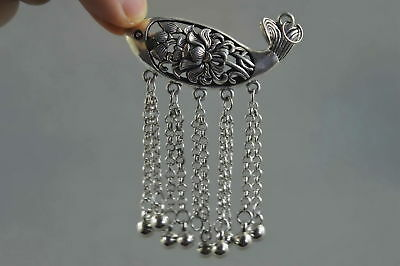 Collectable Handwork Old Miao Silver Carve Auspicious Goldfish Special Pendant